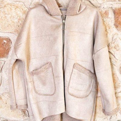 abrigo piel de melocoton